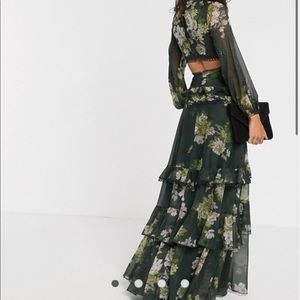 BRAND NEW ASOS long sleeve green floral dress